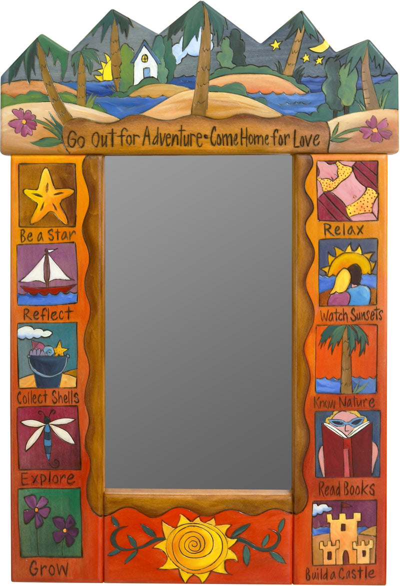 "Small Mirror –  ""Go out for Adventure, Come home for Love"" colorful beach and coastal themed mirror"