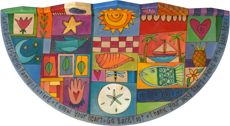 "Small Half Round Table –  ""Thank Your Lucky Stars"" half round table with sun, moon and shells motif"
