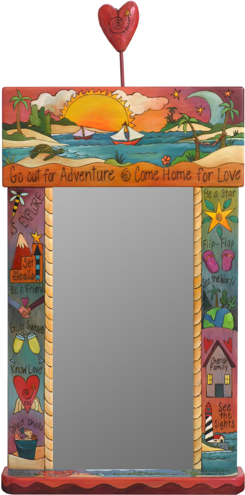 "Large Mirror –  ""Go out for Adventure/Come Home for Love"" mirror with sailboat in the sunset with red sky motif"