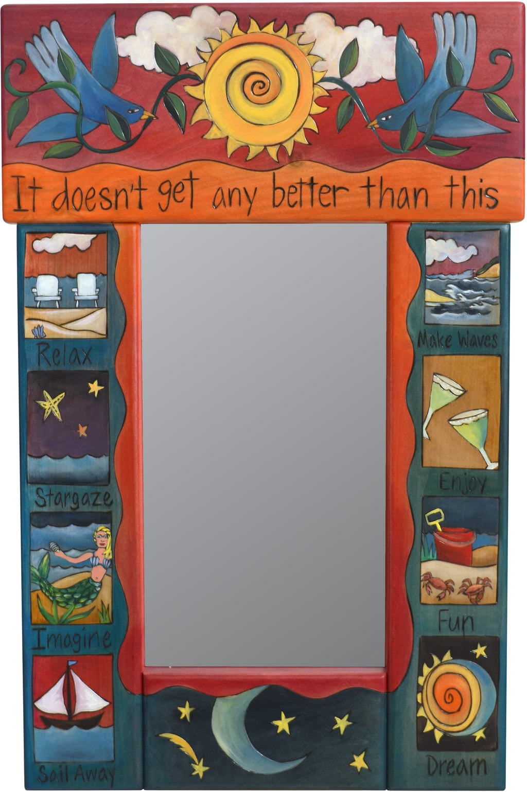 "Small Mirror –  ""It Doesn't get any Better than This"" mirror with bluebirds and sun motif"