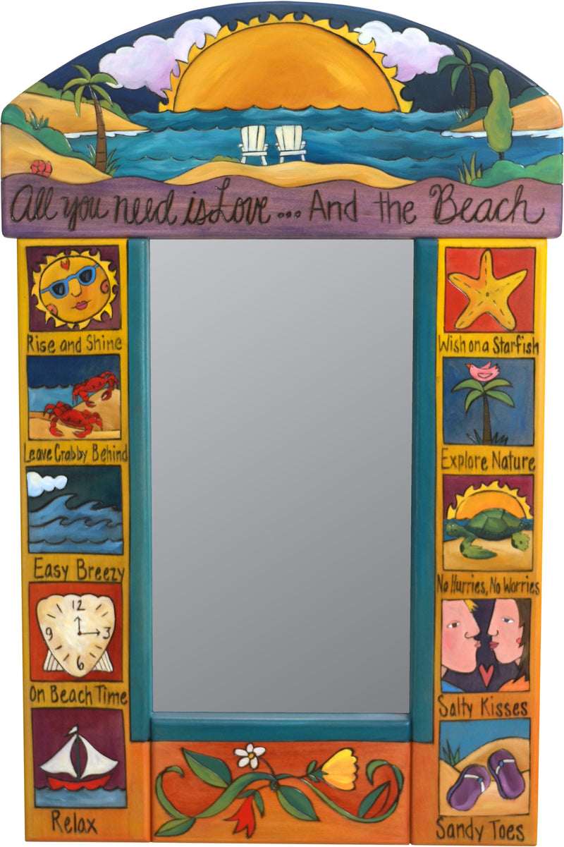 "Small Mirror –  ""All You Need is Love... and the Beach"" mirror with big bright sun setting over the warm beach motif"