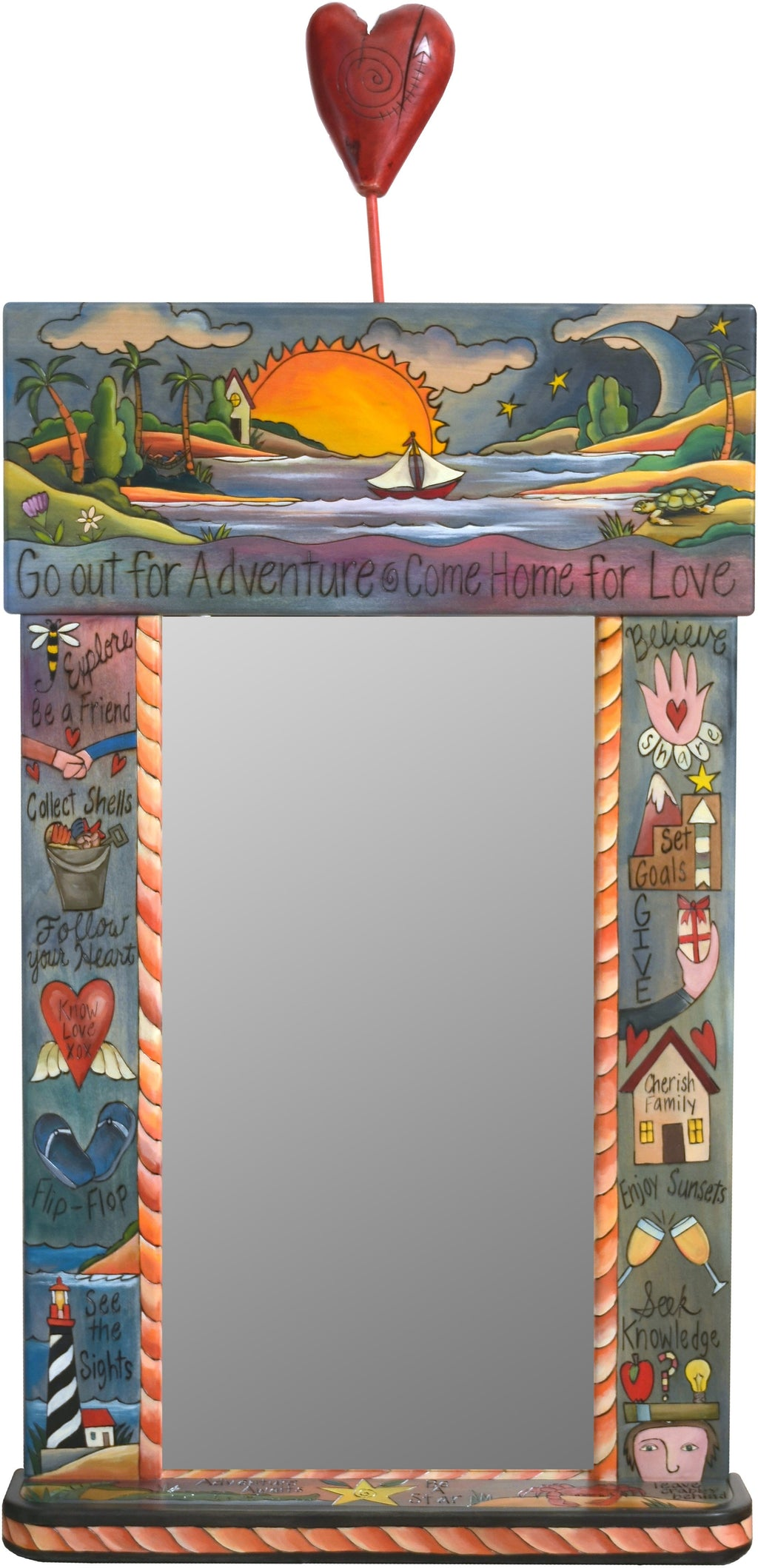 "Large Mirror –  ""Go out for Adventure/Come Home for Love"" mirror with sailboat in the sunset with blue sky motif"