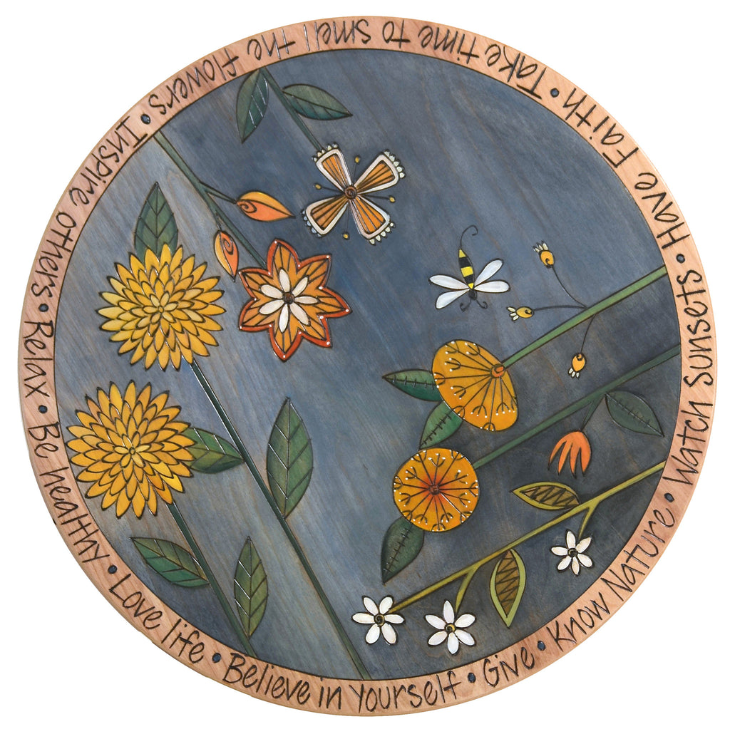 "Sticks Handmade 20""D lazy susan in blue with flowers and a bee"