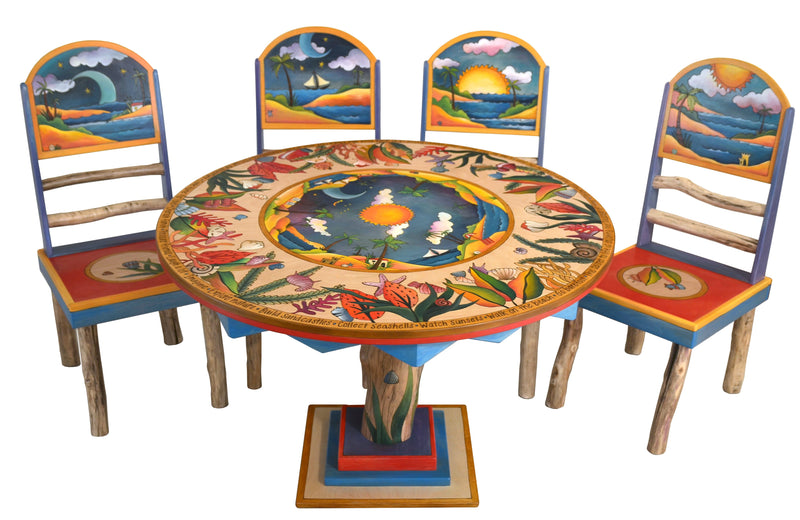 Sticks handmade dining table with lovely tropical theme, log base and matching chairs