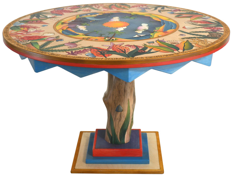Sticks handmade dining table with lovely tropical theme and log base