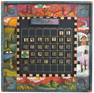 "Large Perpetual Calendar –  ""Enjoy the Changing Seasons"" perpetual calendars with scenes of the four seasons in a warm color scheme motif"