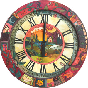 "Sticks handmade 24""D wall clock with four seasons landscape and colorful icons"