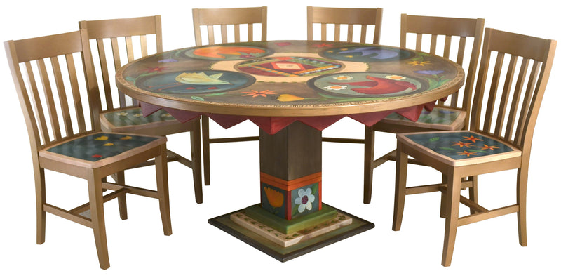 Sticks handmade dining table with colorful folk art imagery and matching chairs
