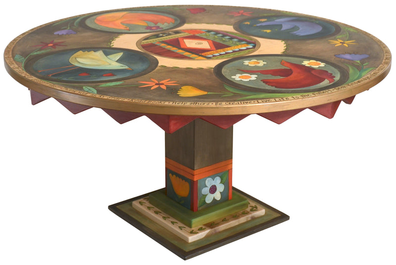 Sticks handmade dining table with colorful folk art imagery