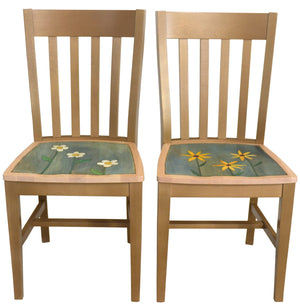 Sticks handmade dining chairs with colorful folk art imagery