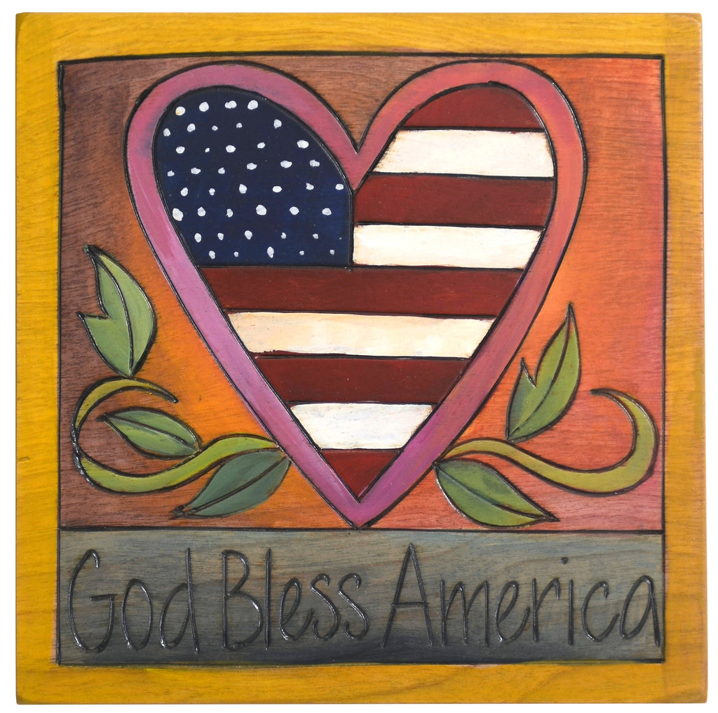 """God bless America"" with the USA flag in a heart design"