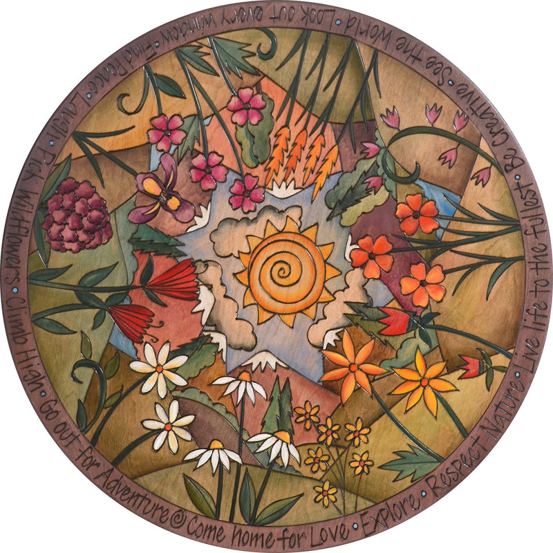 "Sticks Handmade 24""D lazy susan with mountain landscape and wildflowers"