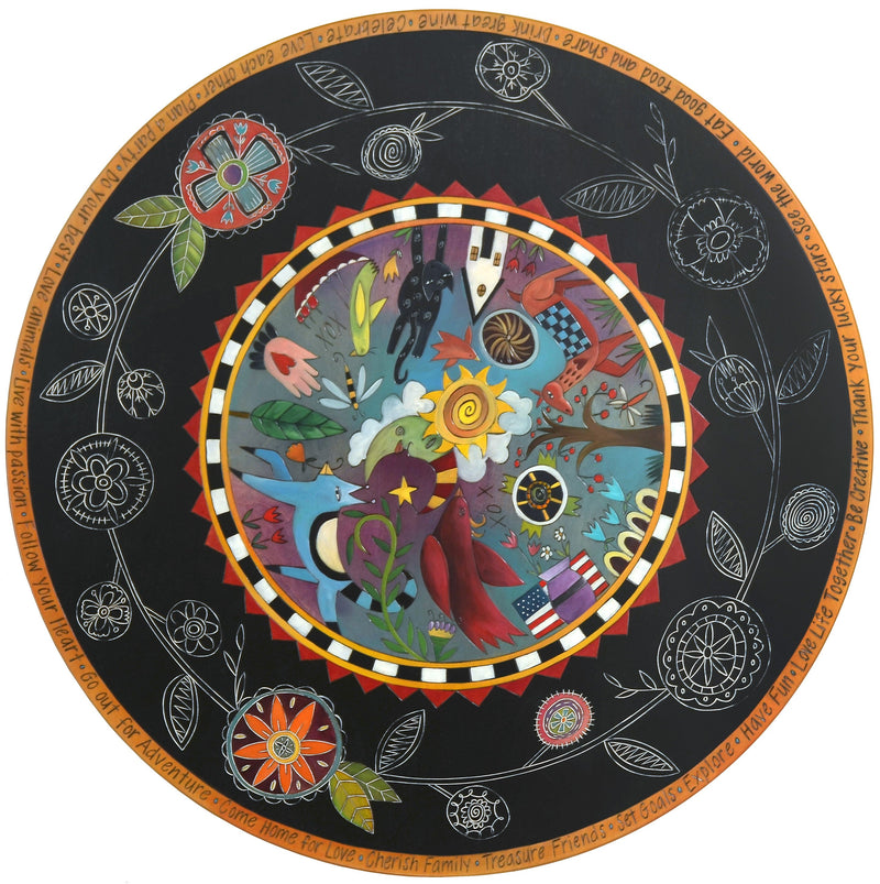 Sticks handmade dining table with colorful folk art design and floral scratchboard border