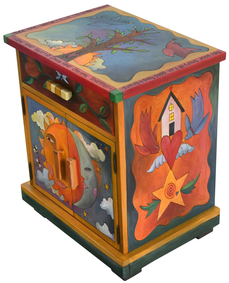 Sticks handmade nightstand with sun and moon and tree of life