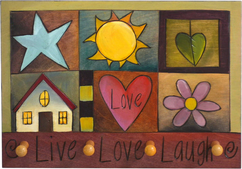"Horizontal Key Ring Plaque –  ""Live, Love, Laugh"" key ring plaque with colorful block icons"
