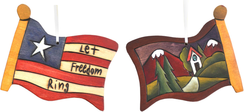 Flag Ornament –  Let Freedom Ring flag ornament with home and mountain motif