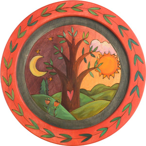"16"" Round Tray –  Tree round tray with sun and moon motif"