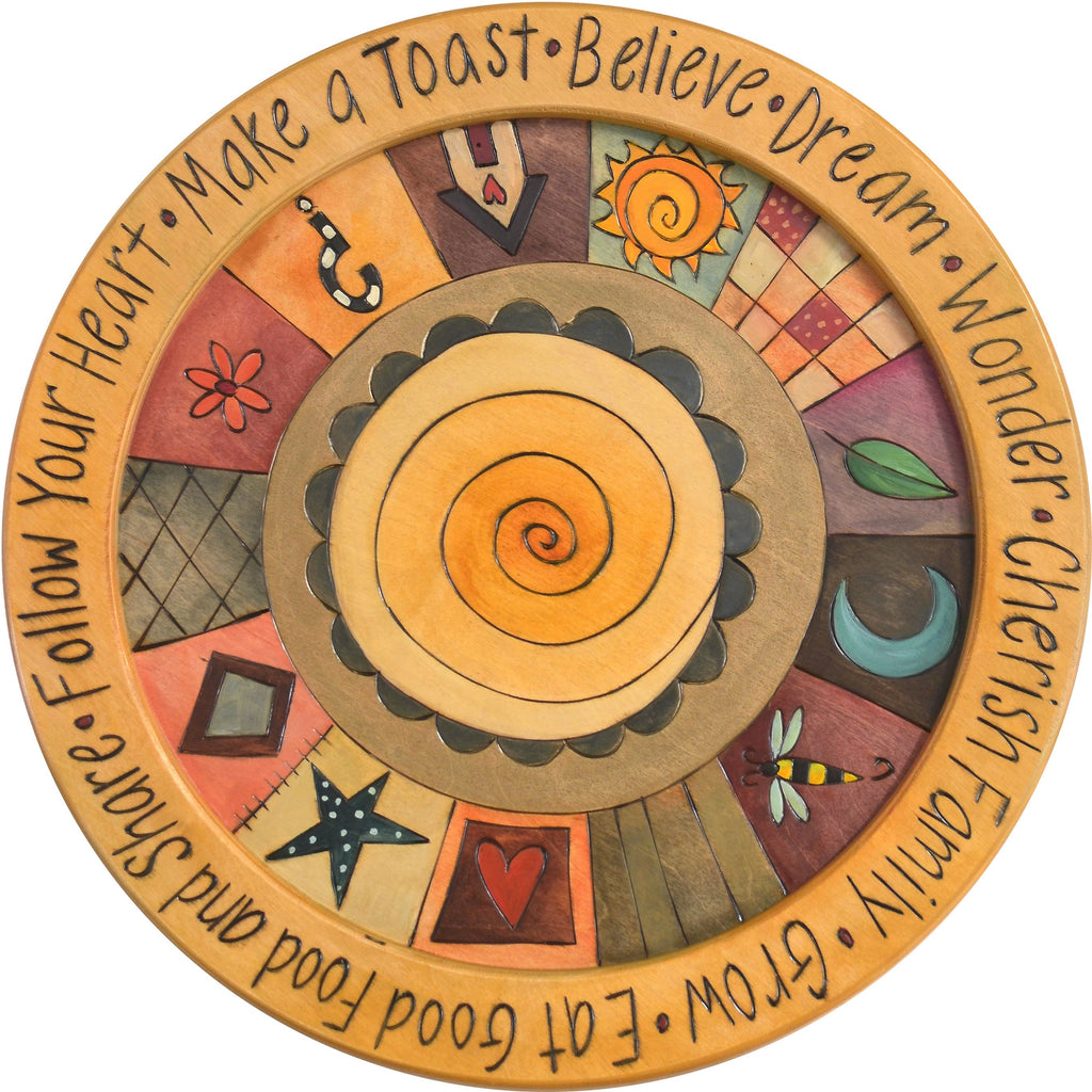 "18"" Round Tray –  Tray with spiral motif and border icons"