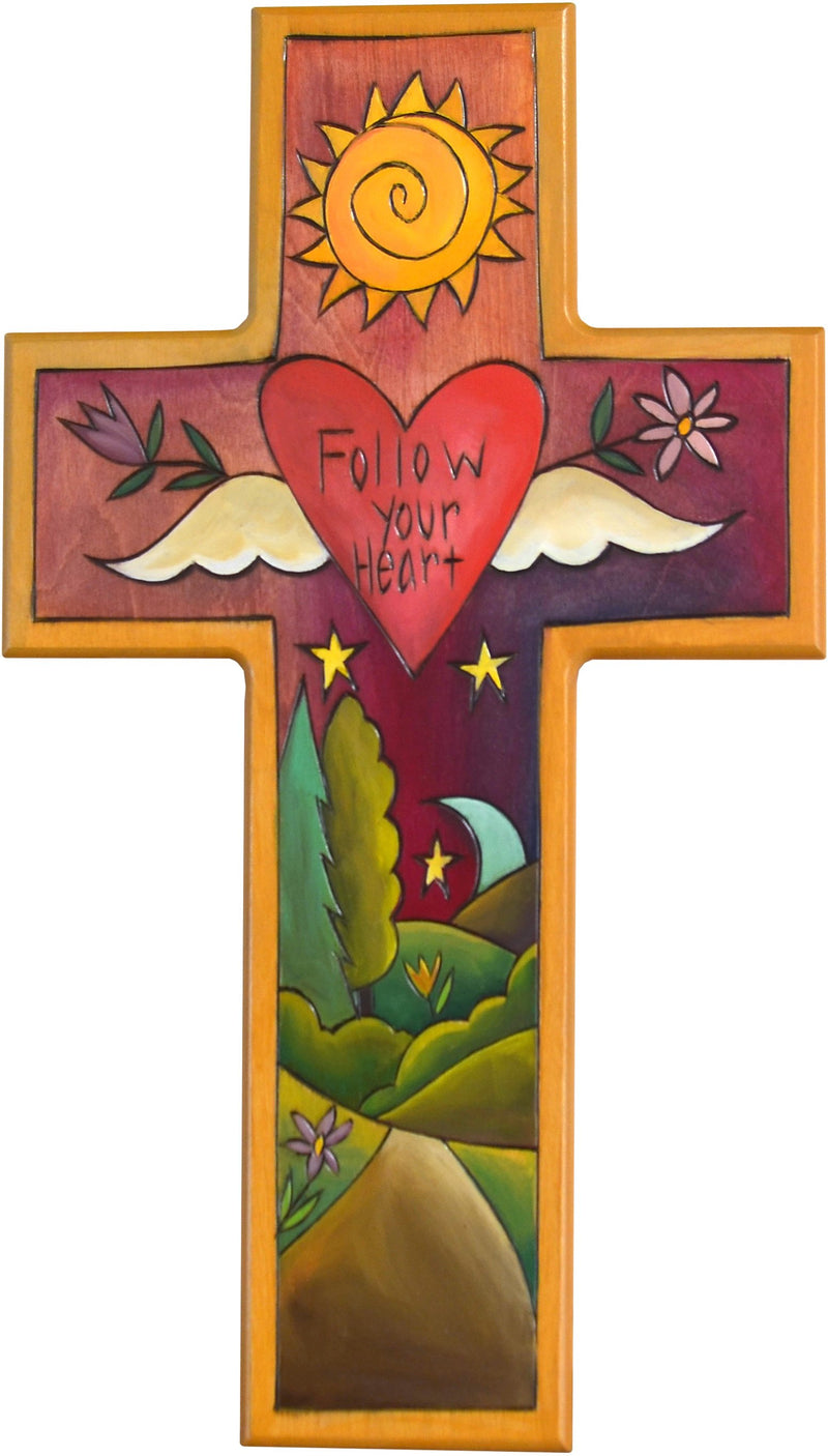 Cross Plaque –  Follow your Heart cross plaque with sun and moon over the horizon motif