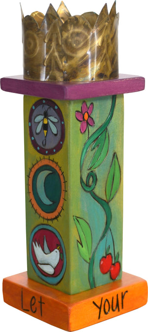 Small Pillar Candle Holder –  Playful pillar candle holder with vine motif, circular icons and a unique stamped metal element