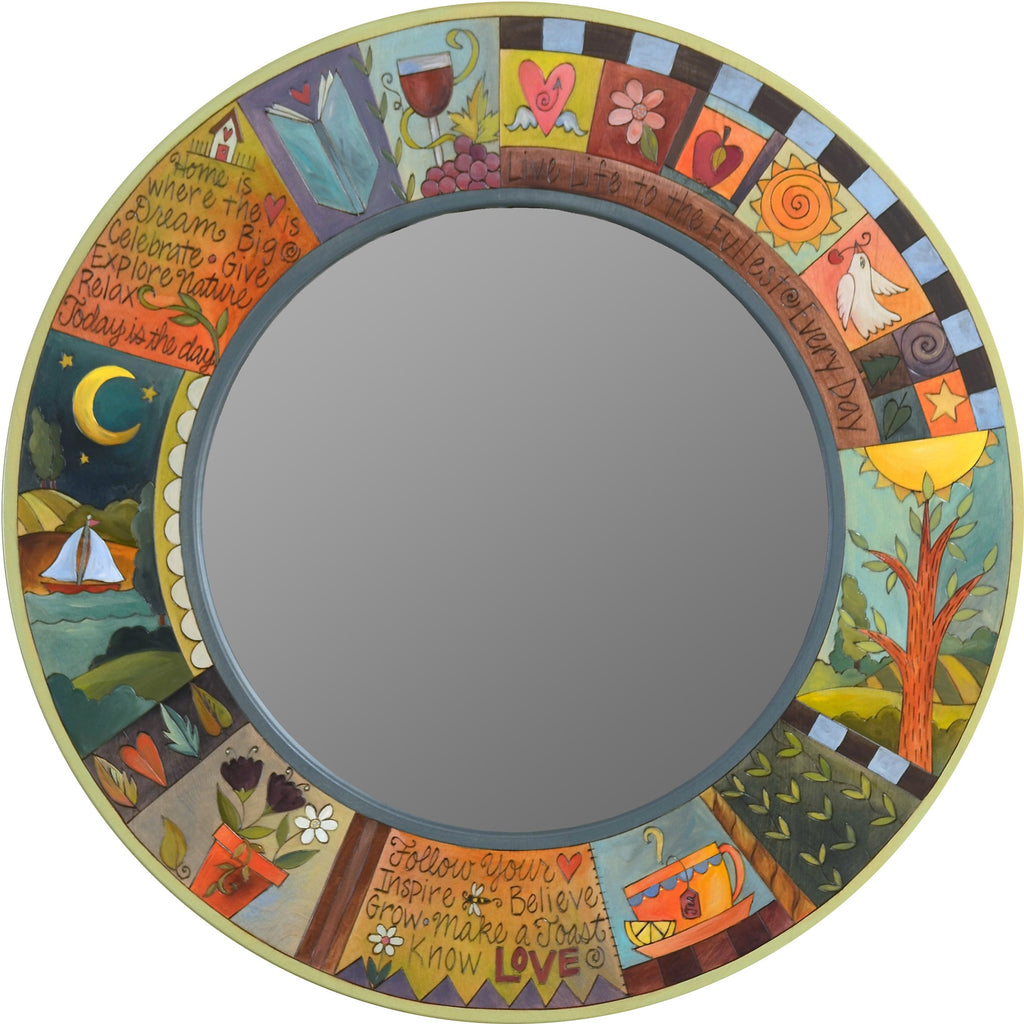 Large Circle Mirror –  Large round mirror with inspirational phrases, colorful block icons and patterns