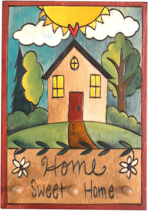 "Vertical Key Ring Plaque –  ""Home Sweet Home,"" Heart home plaque with flowers and cozy neighborhood"