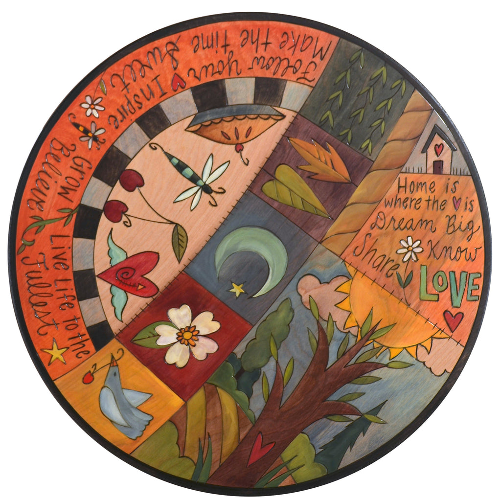 "Sticks Handmade 20""D lazy susan with motivational words and imagery"
