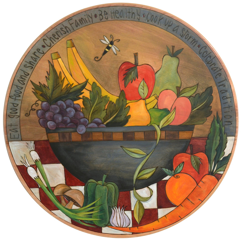 "Sticks Handmade 20""D lazy susan with large fruit bowl, vegetables and a bee"