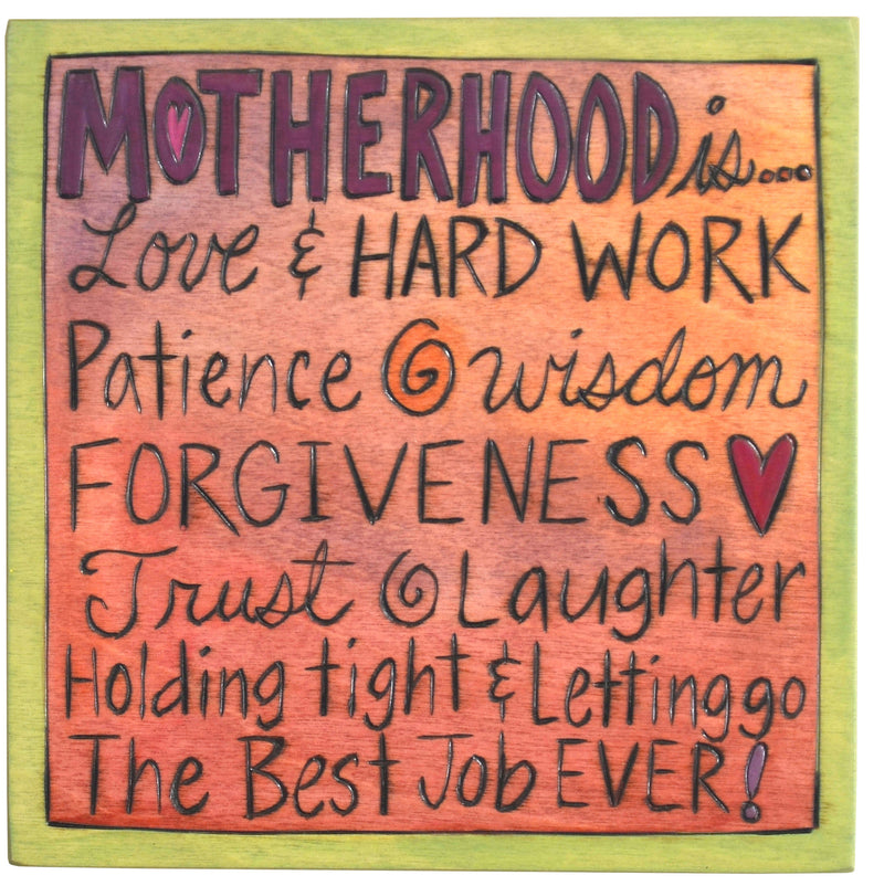 "7""x7"" Plaque –  Endearing ""motherhood is..."" plaque motif"