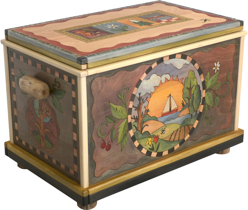"Chest –  ""The Secret to Life is Enjoying the Passage of Time"" chest with four seasons landscape motif"