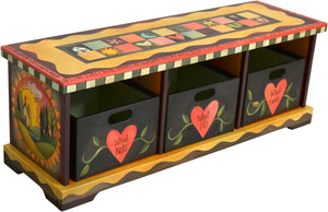 Storage Bench with Boxes –  Colorful storage bench with matching boxes painted in rich and vibrant hues