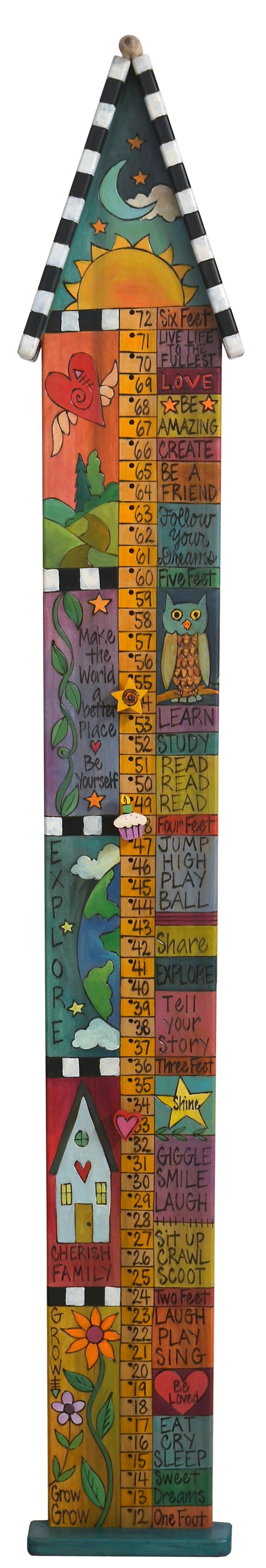 "Growth Chart with Pegs –  ""Cherish Family"" growth chart with pegs with sun and moon motif"