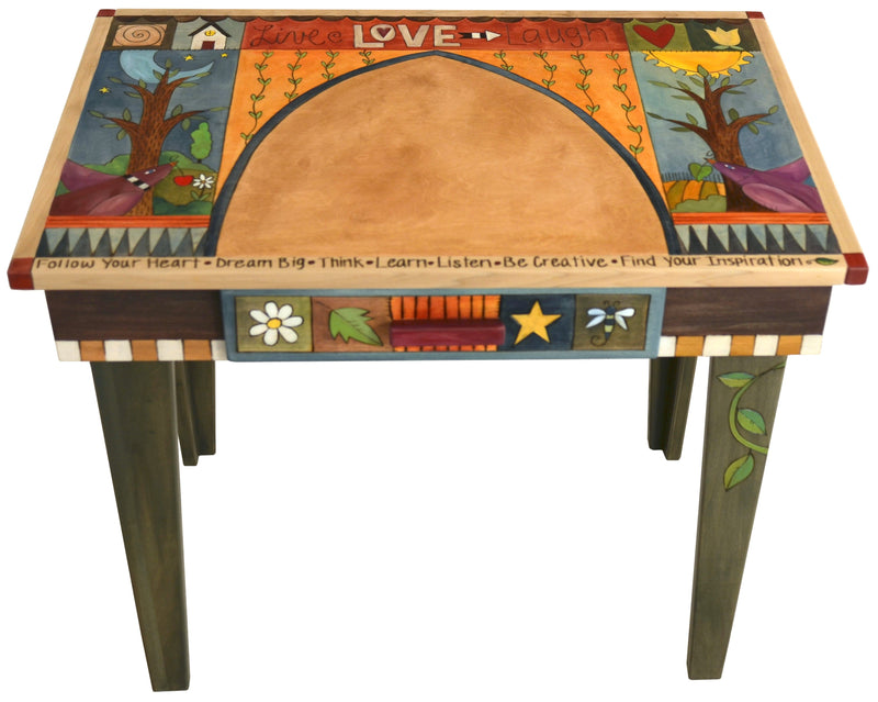 "Deep Desk –  ""Find Your Inspiration"" deep desk with sun, moon and trees motif"