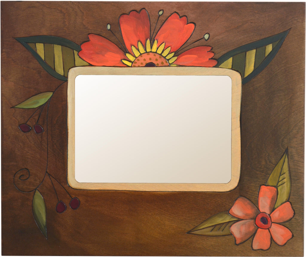 "Sticks handmade 5x7"" picture frame with floral design"