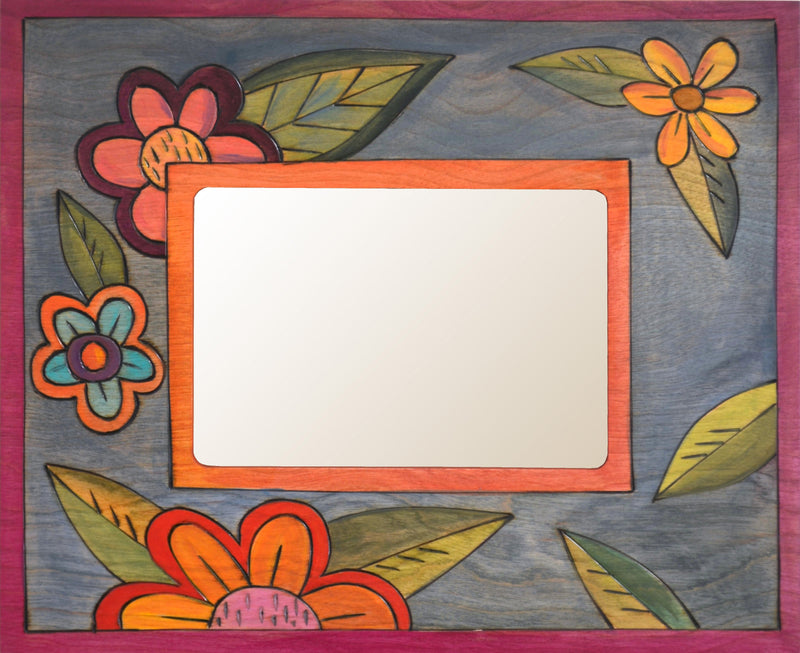 "Sticks handmade 5x7"" picture frame with colorful floral design"