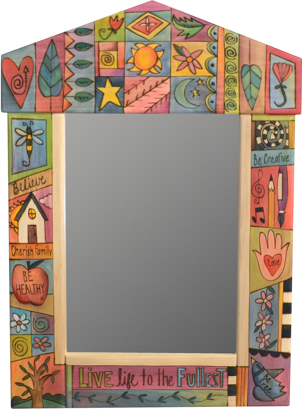 "Medium Mirror –  ""Live Life to the Fullest"" mirror with quilt inspired motif"