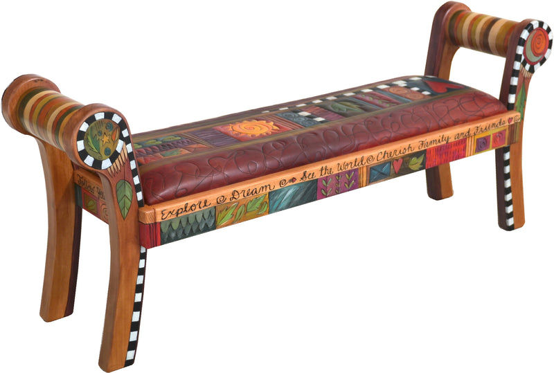 "Rolled Arm Bench with Leather Seat –  ""Cherish Family and Friends"" rolled arm bench with leather seat with quilt inspired motif"