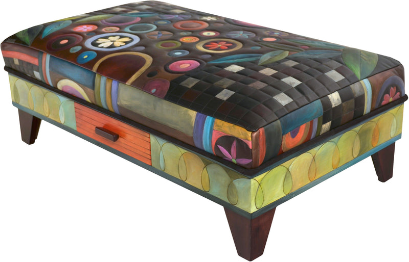 Ottoman with Storage Drawer –  Colorful and eclectic folk art ottoman, leather, hand stitched and painted with drawer for storage