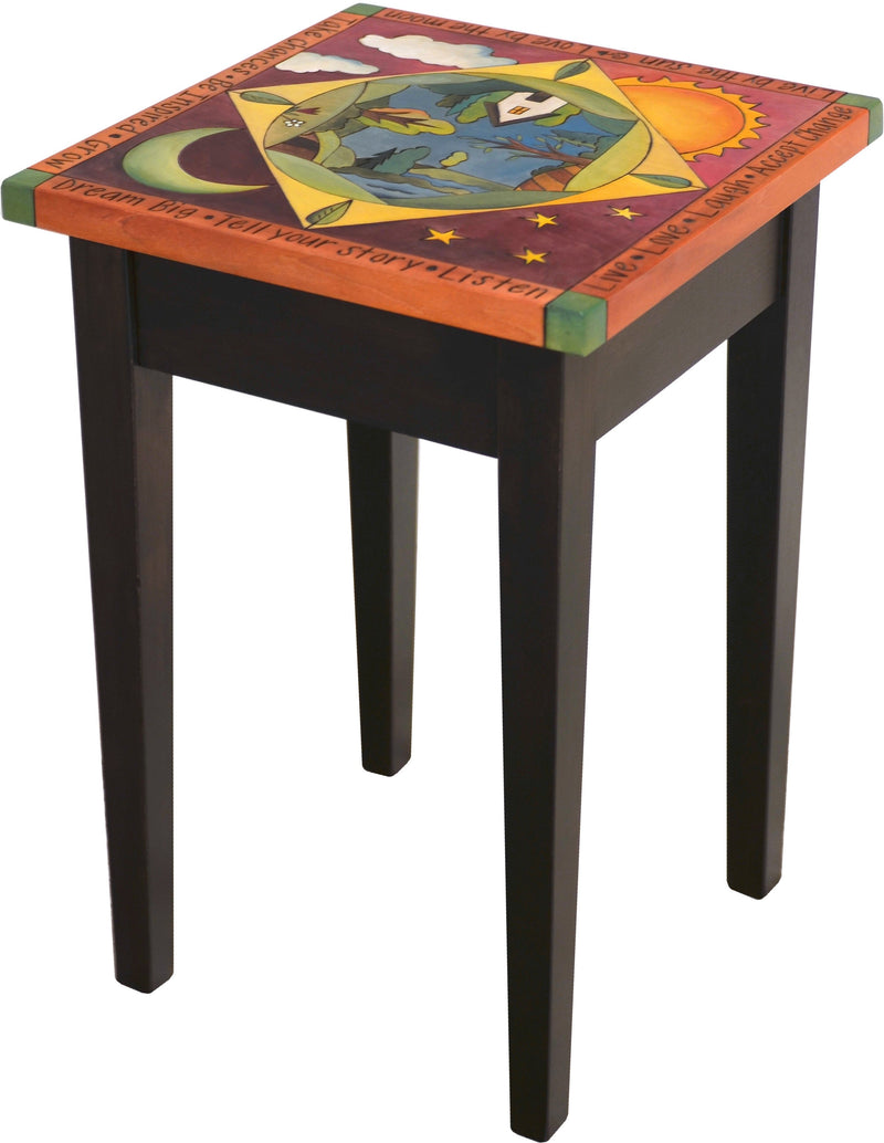 Small Square End Table –  Elegant end table with landscape painting in the round and sun and moon motif