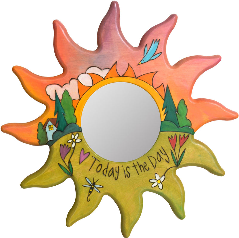 "Sun Shaped Mirror –  ""Today is the Day"" sun-shaped mirror with warm sunset on the horizon motif"