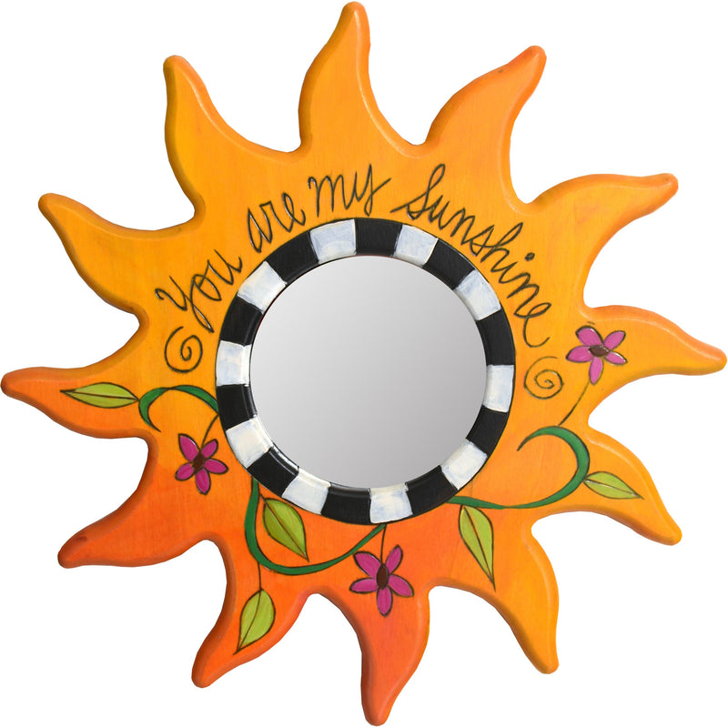 "Sun Shaped Mirror –  ""You are my Sunshine"" sun-shaped mirror with floral motif"