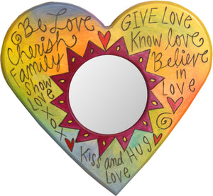 "Heart Shaped Mirror –  ""Give Love/Know Love/Believe in Love"" heart-shaped mirror with love-related words on a colorful background"