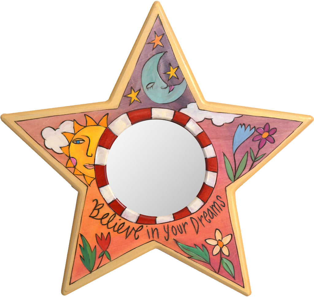 "Star Shaped Mirror –  ""Believe in your Dreams"" star-shaped mirror with smiley sun and sleepy moon motif"