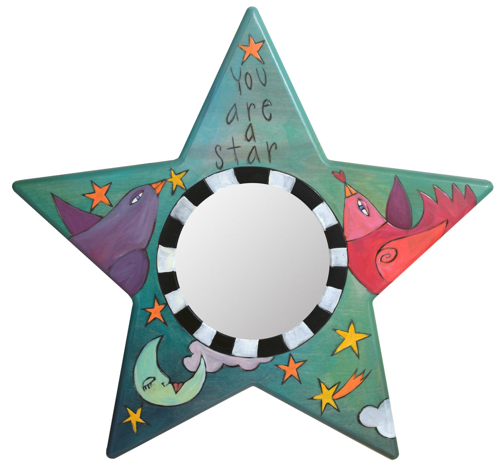 "Star Shaped Mirror –  ""You are a star"" star-shaped mirror with moon and birds motif"