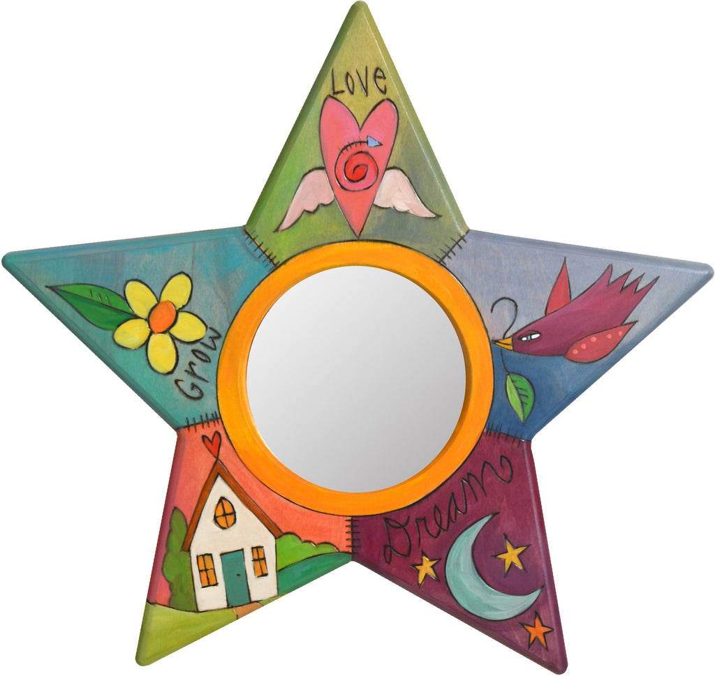 "Star Shaped Mirror –  ""Grow/Love/Dream"" star-shaped mirror with home, moon and heart with wings motif"