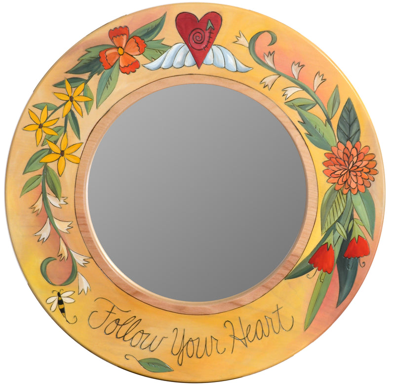 "Small Circle Mirror –  Beautiful floral mirror inspires you to ""follow your heart"""