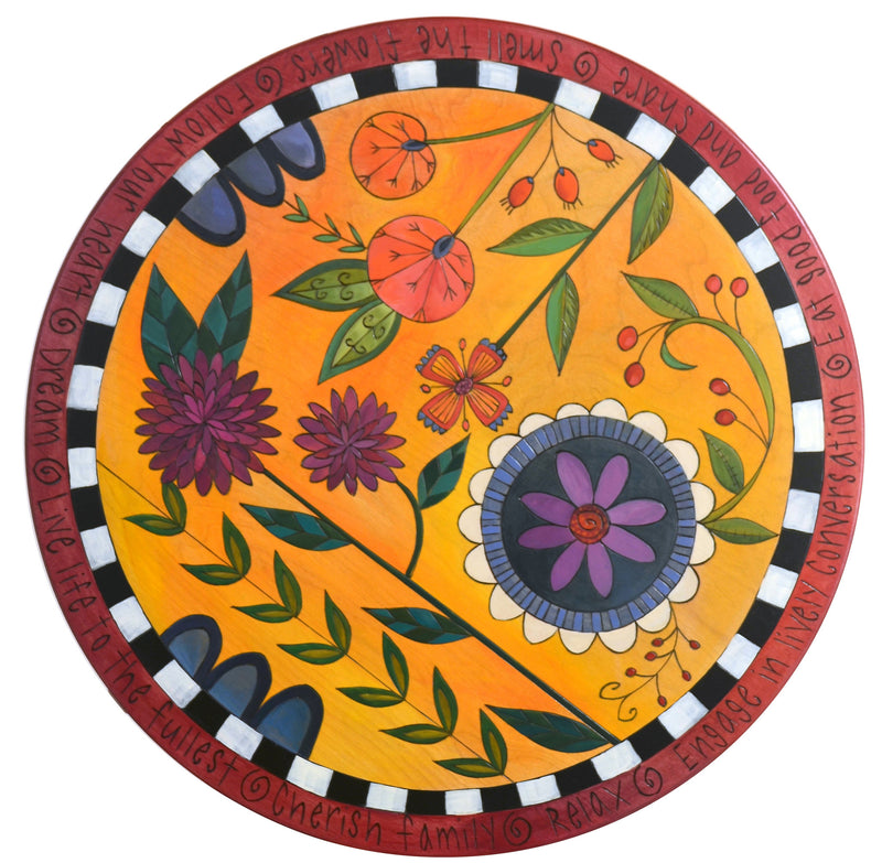 "Sticks Handmade 24""D lazy susan with contemporary floral design"
