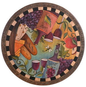 "Sticks Handmade 24""D lazy susan with elegant wine and cheese theme"
