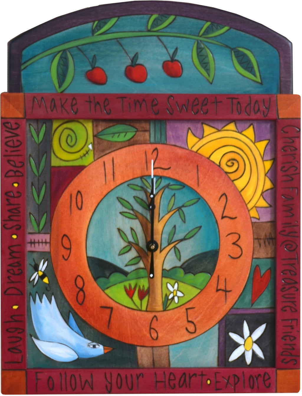 "Square Wall Clock –  ""Make the Time Sweet Today"" wall clock with sun, bird and tree of life motif"