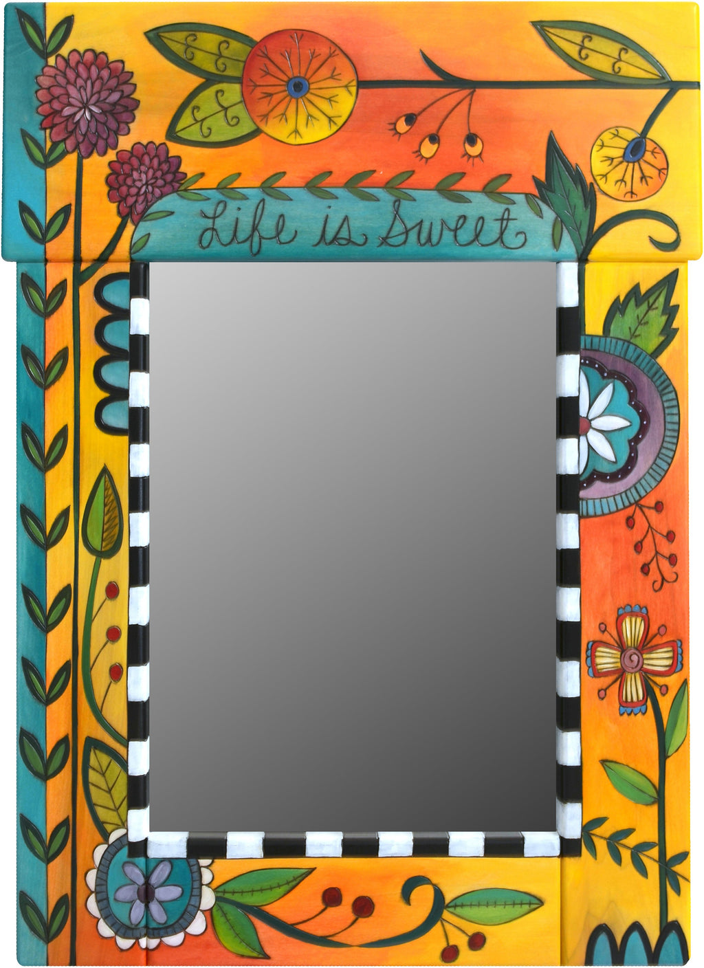 "Medium Mirror –  ""Life is Sweet"" mirror with orange/yellow background and floral motif"